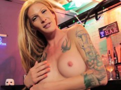 Inked trans cutie ravages bartender for guzzles