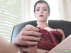 Bony first-timer tgirl pulling her stiffy solo