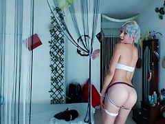 Femboy with blue hair and red-hot body on
