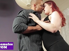 Bigtitted redhead tgirl interracially drilled