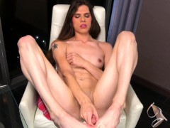 Captivating transsexual wanking her man-meat