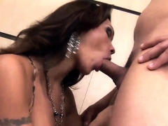Tranny Yields Her Mouth and Rosy pucker to a Wild Boy