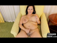 Chubby Tgirl Cums and Showers!