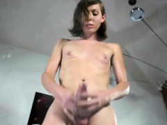Randy solo shemale ass-plugs her asshole
