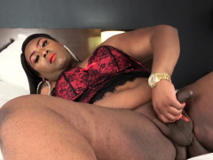 Plump  dark-hued shoots a load after wanking
