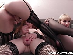 Blondie tbabe Lianna Lawson riding hard in stockings foursome