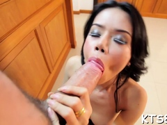 Cute shemale goes raging about cock in mouth and in rectal fuckhole