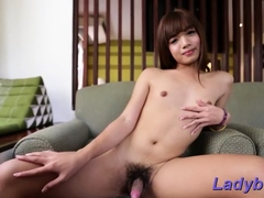 Filthy exotic dark haired shemale Sonae chokes on fat shaft