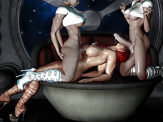X-rated 3D Art - 2 shemale fuck a girl (very hot)