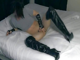 Stripping My Hole up Pants & Cumming In Stiletto Boots