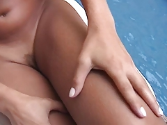 Latina tgirl with a perfect ass is poked hard by  inch man meat by the pool